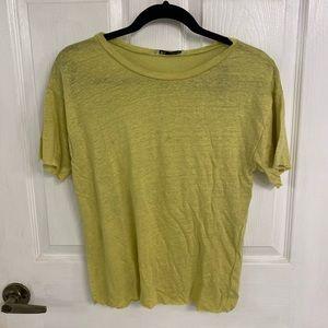 Zara Chartreuse Linen T-Shirt